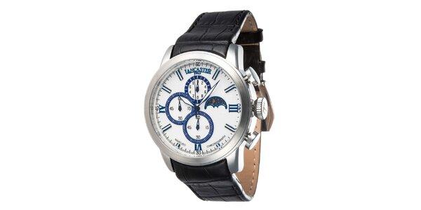 Pánské ocelové hodinky s černým řemínkem a bílo-modrým ciferníkem Lancaster