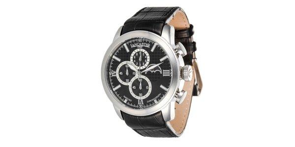 Pánské ocelové hodinky s černým řemínkem a černým ciferníkem Lancaster