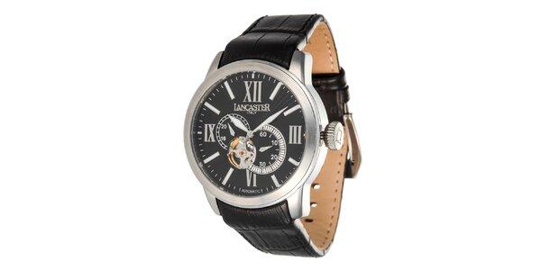 Pánské ocelové hodinky s černým ciferníkem Lancaster