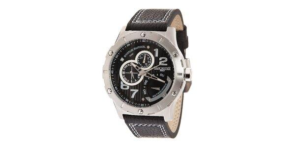 Pánské ocelové hodinky s černým ciferníkem a prošívaným řemínkem Lancaster