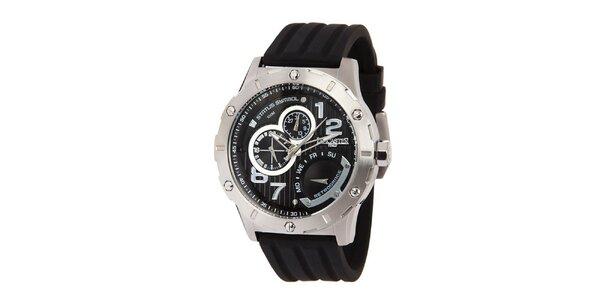 Pánské ocelové hodinky s černým ciferníkem a silikonovým řemínkem Lancaster