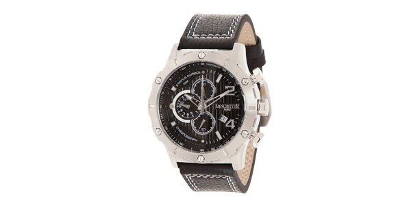 Pánské ocelové hodinky s tmavým ciferníkem a prošívaným řemínkem Lancaster