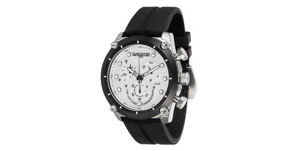 Pánské ocelové hodinky s bílým ciferníkem a silikonovým řemínkem Lancaster