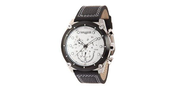 Pánské ocelové hodinky s bílým ciferníkem a koženým prošívaným řemínkem…