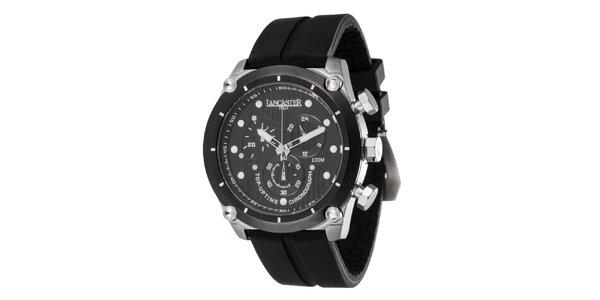 Pánské ocelové hodinky s tmavým ciferníkem a silikonovým řemínkem Lancaster