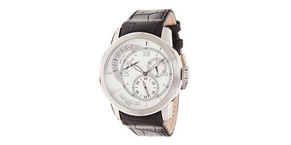 Pánské hodinky s bílým ciferníkem a koženým řemínkem Lancaster