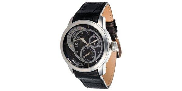Pánské hodinky s černým ciferníkem a koženým řemínkem Lancaster