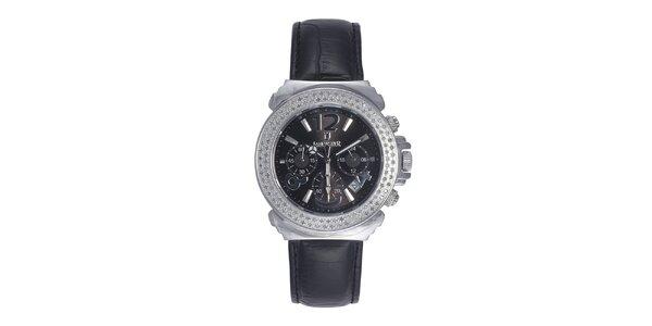 Dámské hodinky s krystaly a černým perleťovým ciferníkem Lancaster