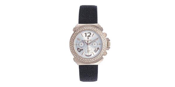 Dámské růžové ocelové hodinky s krystaly a reliéfním řemínkem Lancaster