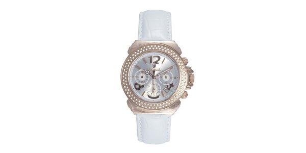 Dámské růžové ocelové hodinky s krystaly a bílým řemínkem Lancaster
