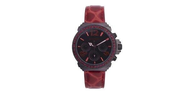 Dámské vínovo-černé hodinky s kamínky Lancaster