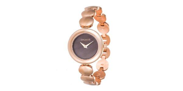 Dámské minimalistické hodinky v tónu růžového zlata Lancaster