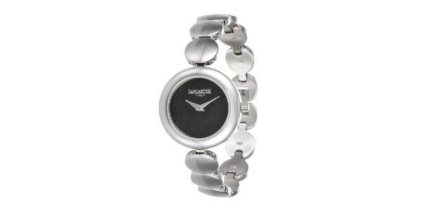 Dámské minimalistické stříbrné hodinky s tmavým ciferníkem Lancaster