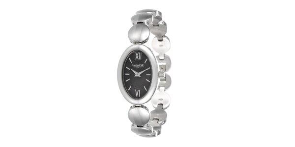 Dámské hodinky ve stříbrném tónu s tmavým ciferníkem Lancaster