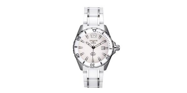 Dámské bílo-stříbrné keramické hodinky s datumovkou Lancaster