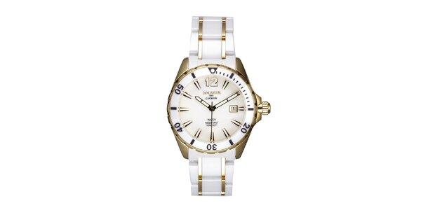 Dámské bílo-zlaté keramické hodinky s datumovkou Lancaster
