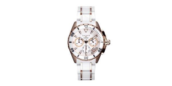 Dámské bílo-růžové keramické hodinky Lancaster