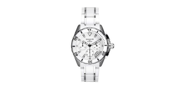 Dámské bílo-stříbrné keramické hodinky Lancaster