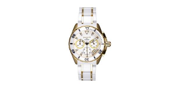 Dámské bílo-zlaté keramické hodinky Lancaster