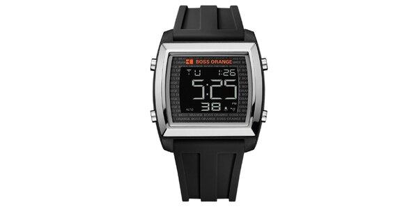 Pánské digitální hodinky s černým řemínkem Hugo Boss Orange