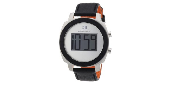 Dámské kulaté digitální hodinky s černým řemínkem Hugo Boss Orange