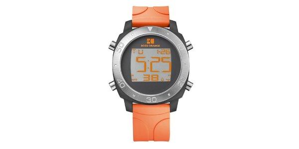 Pánské digitální hodinky s oranžovým řemínkem Hugo Boss Orange