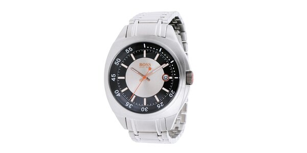 Ocelové hodinky s datumovkou Hugo Boss Orange