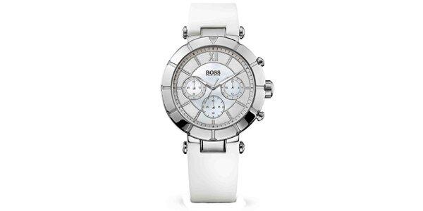 Dámské ocelové hodinky s chronografem a bílým páskem Hugo Boss