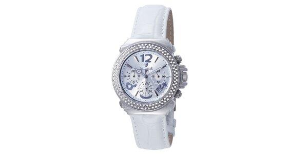 Dámské sněhobílé hodinky s krystaly Lancaster
