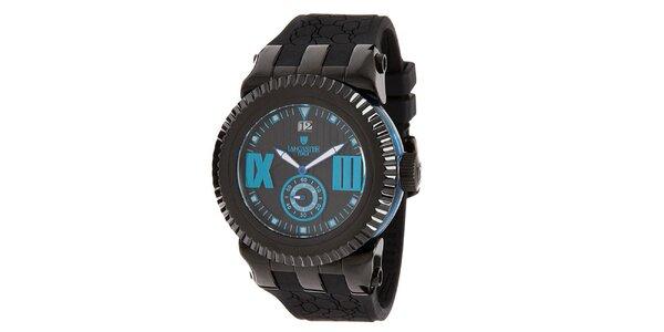 Pánské černé hodinky s modrými prvky Lancaster