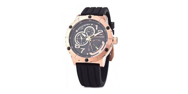 Pánské zlato-černé hodinky Lancaster s černým silikonovým řemínkem