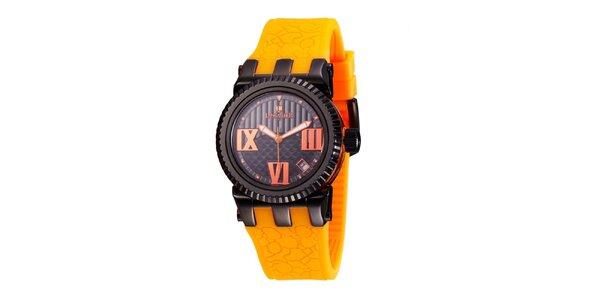 Dámské černé hodinky Lancaster s oranžovými detaily