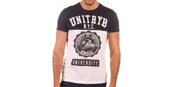 Pánské černo-bílé tričko s potiskem Unitryb