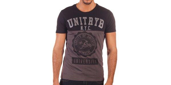 Pánské dvoubarevné tričko s potiskem Unitryb