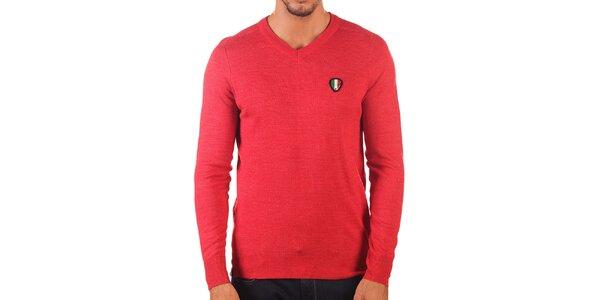 Pánský červený svetr s véčkovým výstřihem Unitryb