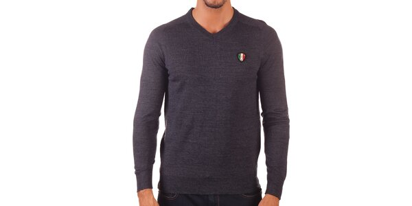 Pánský tmavě šedý svetr s véčkovým výstřihem Unitryb