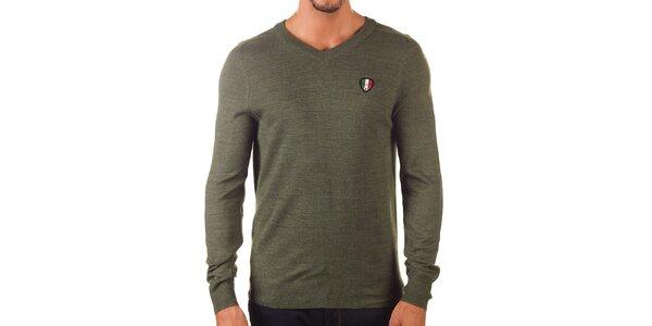 Pánský khaki svetr s véčkovým výstřihem Unitryb