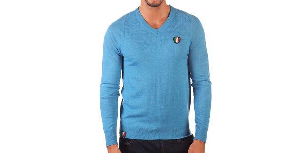 Pánský světle modrý svetr s véčkovým výstřihem Unitryb