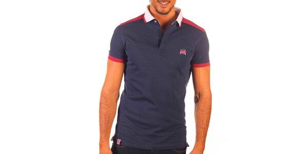 Pánské modré polo tričko s bílým límečkem a červenými prvky Unitryb