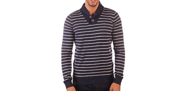 Pánský tmavě modrý svetr s bílými proužky Unitryb