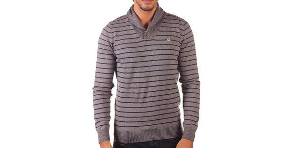Pánský šedý svetr s vodorovnými proužky Unitryb