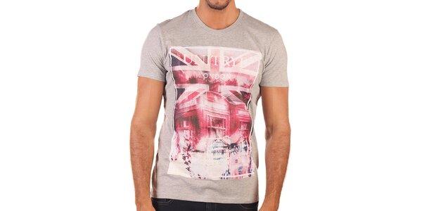 Pánské šedé tričko s britským motivem Unitryb