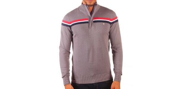 Pánský šedý svetr s kontrastními pruhy a zapínáním na zip Unitryb