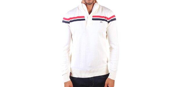 Pánský svetr s kontrastními pruhy a zapínáním na zip Unitryb