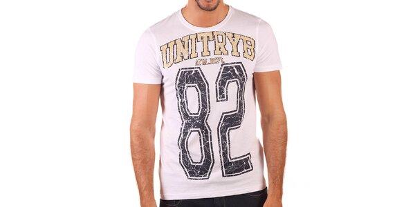 Pánské bílé tričko s potiskem Unitryb