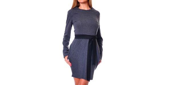 Dámské šedé šaty s tulipánovou sukní Avangard