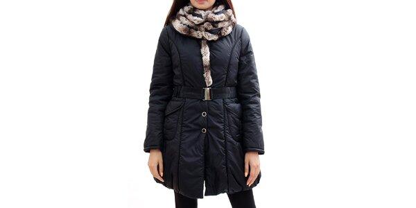 Dámský černý kabát s kožíškem Radek's