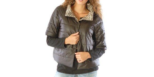 Dámský oboustranný leopardí kabátek s černou stranou Silvana Cirri