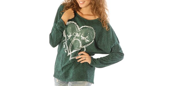 Dámské zelené tričko se srdíčky a flitry Silvana Cirri