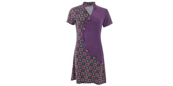 Dámské fialové vzorované šaty s knoflíky Purple Jam